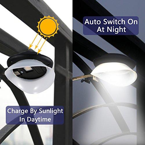 Solar Gutter Lights, Super Bright 9 LED Waterproof Wireless Security Lights Fence Lamp for Outdoor Garden Wall Yard Deck (Black 2 Pack)