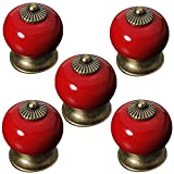 Aestm - Pomos de cerámica redondos para puertas de armarios/cajones, perno de armario de porcelana, manija antigua, casa de campo, rojo, 5 unidades