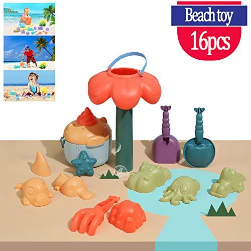 Strand voor kinderen speelgoed jongens en meisjes, 16 speelgoed verpakt in een herbruikbare mesh zandzakken in met dierlijke vat auto sluizen en andere hulpmiddelen