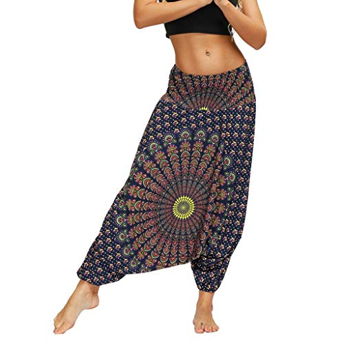WGNNAA Hippie Hose Damen Aladinhose Yoga Hosen Baggy Boho Hose Pumphose Haremshose Pluderhosen für Damen Hosenrock Eine Größe