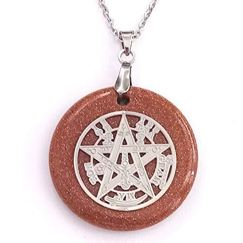 ARITZI - Colgante Redondo de Mineral Natural con símbolo de Tetragrammaton y Cadena de 50 cm en Acero - Venturina Dorada