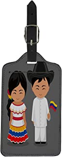 Semtomn Luggage Tag Venezuelans in National Dress Flag Man and Woman Traditional Suitcase Baggage Label Travel Tag Labels