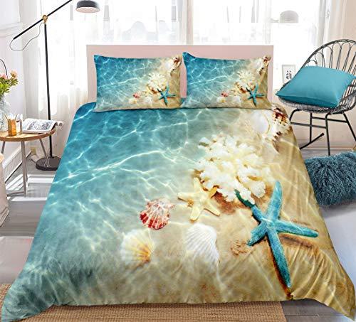 Bedbay Ocean Bedding Blue Beach Duvet Cover Set Coastal Nature Theme Pattern Boys Girls Microfiber Bedding Sets King 1 Duvet Cover 2 Pillowcases (Beach, King)