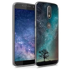 kwmobile Funda Compatible con Motorola Moto G4 / Moto G4 Plus - Carcasa de TPU y árbol y Estrellas en Azul/Gris/Negro