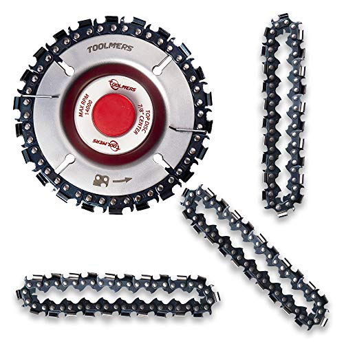 TOOLMERS Wood Carving Chain Disc with 3 PCS of Extra Circlets, 7/8' Arbor, Compatible with All 4-1/2 or 5 Inch Angle Grinders, 4 Inch, 22 Teeth Saw Blade, Cutting, Grinding, Shaping Chainsaw Wheel