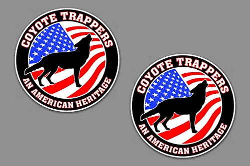 Coyote Trapper an American Heritage 5' Circle Decal Set of 2 Truck Vehicle Glass Window