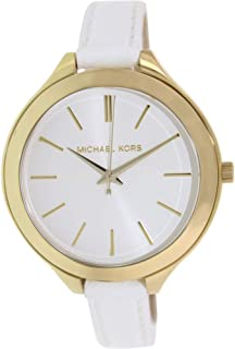 Michael Kors Runway Women's White Dial Leather Band Watch - MK2273