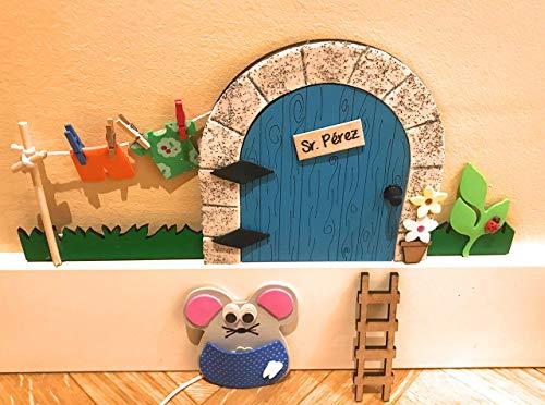 Puerta ratoncito Pérez MADERA AZUL QUE SE ABRE CON JARDIN + escalera + ratón guardadientes.