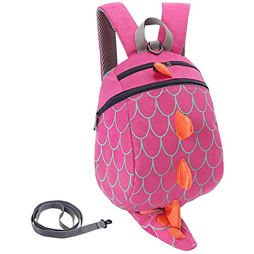 Children'S Safety Harness Backpack Withleash Girl Boys Baby Anti-Lost Package Dinosaur Bags (Rose red)