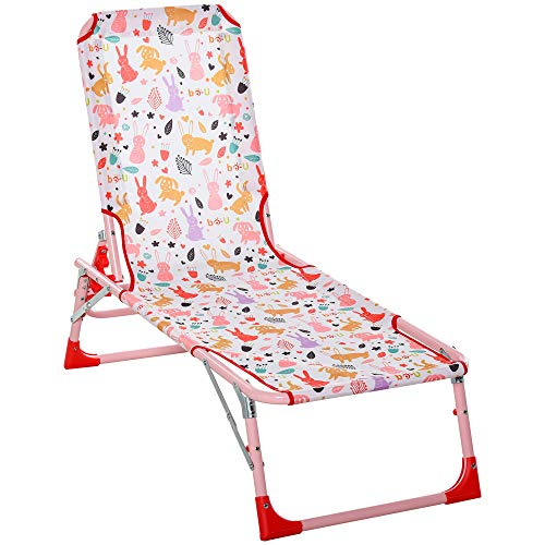 Outsunny Lightweight Chaise Lounge Chair for Kids with Foldable Function and No Assembly Required,...