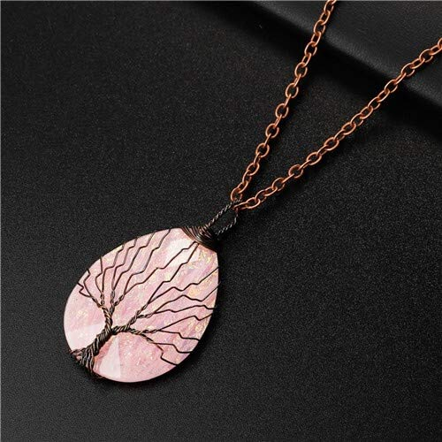 Dfgh Fashion Handgemaakte Tree of Life koperdraad Verpakt Ketting Hanger Blue Hars Plastic Water Drop Healing Crystal Ketting (Metal Color : FA295 5)