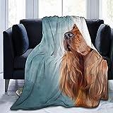 Bernice Winifred Cocker - Manta de Tiro súper Suave para Perros ingleses, cálida, acogedora, Liviana y esponjosa, para Cama, sofá, Funda de sofá, Sala de Estar, Manta Negra, 50'x 40'