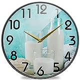 Reloj de Pared Redondo de impresión de Leche Vegana, Reloj de Escritorio silencioso de Cuarzo de Cuarzo con batería silenciosa para el hogar, Oficina, Escuela