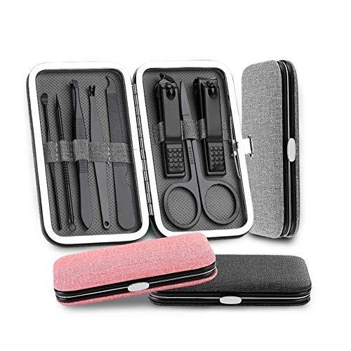 HAOT Nail Clipper Set 8pcs / Set INOX Nail Clipper Pedicure Set with Scissor Tweezer Manicure Tools Nail Supplies for Professionals (Couleur: Gris, Taille: 8pcs)