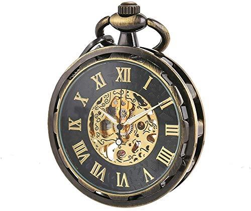 Reloj de Bolsillo - Esqueleto Steampunk Vintage de Cara Abierta Transparente Cadena de Bronce mecánica Regalo de Acción de Gracias de Navidad