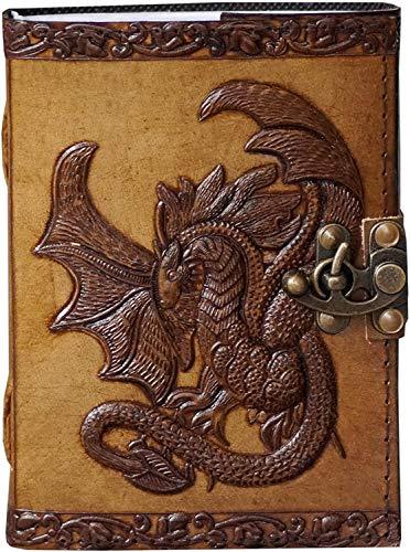 Diário de couro com fecho celta dragão em relevo diário vintage caderno de esboço pergaminho escrita Wiccan pagan para mulheres diário agenda compromissos organizador livro de poesia 7x5 polegadas