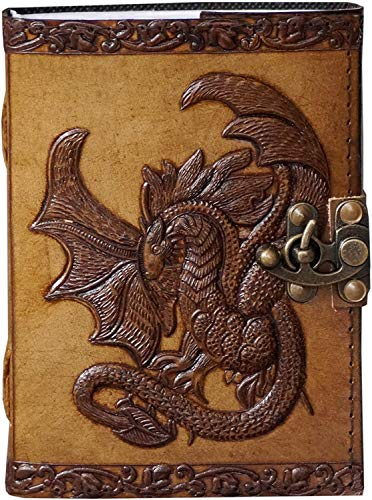 Leather Journal with Clasp Celtic Dragon Embossed Journal Vintage Sketchbook Parchment Paper Writing Wiccan Pagan Notebook for Women Diary Appointment Organizer Poetry Book 7x5 Inches
