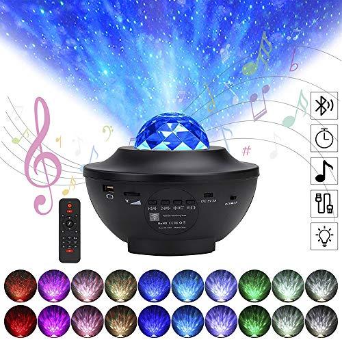 Sternenhimmel Projektor LED Sternenlicht Projektor, FarbwechselMusikspieler mit Bluetooth & Timer, Rotierende Wasserwellen Sterne Lampe, für Kinder Erwachsene Zimmer Dekoration