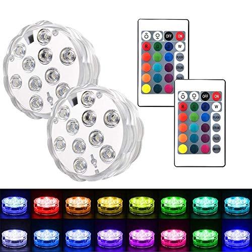 keyixing LED Pool mit Fernbedienung, 2Packungen Unterwasserbrunnen Lichter LED-Tauchlampen für Aquarium, Whirlpool, Teich, Pool, Sockel, Vase, Garten, Hochzeit, Party