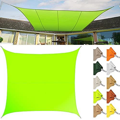 Toldo Vela de Sombra Rectangular HDPE Transpirable protección UV para Patio,Exteriores,Jardín-Verde Lima_3X4(m)