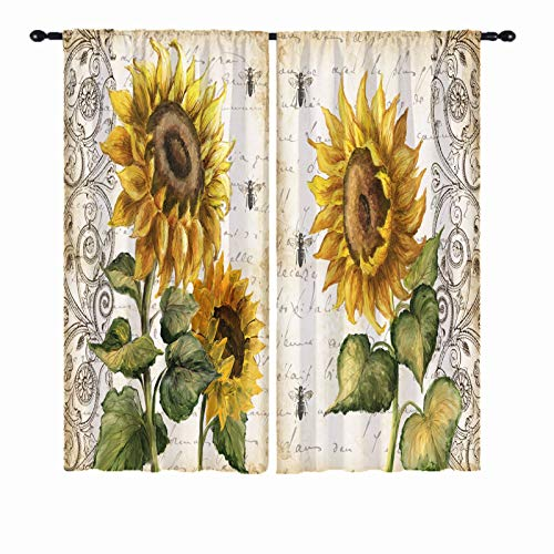 ANHOPE Sunflower Curtains, Hand Painted Rustic Vintage Yellow Flowers Green Leaves Bee Pattern Home Decor 3D Print Rod Pocket Window Drapes for Bedroom Living Room Kitchen 2 Panels W29.5 x L65