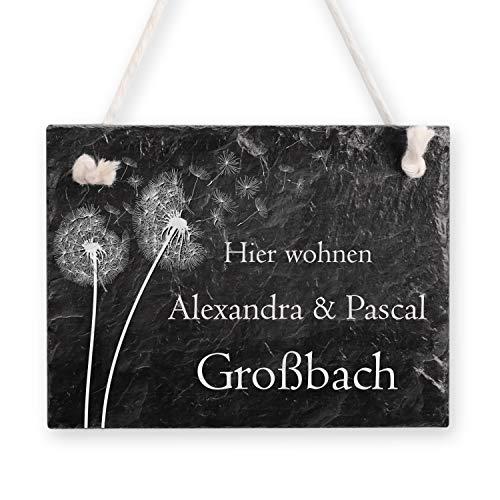 Kreative Feder Pusteblume Schiefertafel Türschild mit Wunschtext | personalisiertes Namensschild | Einzugsgeschenk (Anthrazit)