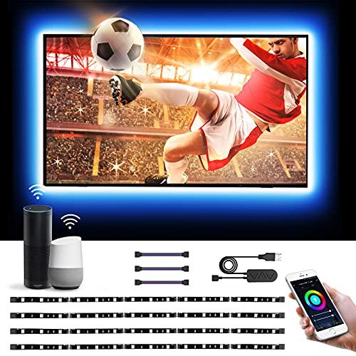 Lepro 2M Luces de Tira LED WiFi(Solo 2,4 GHz), Tira TV USB 50LM, Control de Voz y Control de APP, 16 Millones RGB, DIY Modos de luz, Compatible con Alexa y Google Home, 4 x Tira led Inteligente por TV