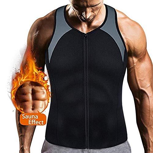 Rugsteungordel Bodyshaper Tops For Men Fashion Fitness Gym neopreen Sauna Tank Top Taille Trainer Body Shaper Afslanken Suit Zipper Vest brace Lumbale (Color : 1, Size : XXXL)