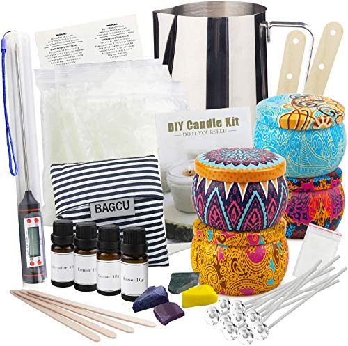 Candle Making Supplies,DIY Candle Making kit, Beeswax Arts and Crafts for Adults Candle DIY Gift Set with Fragrance Oil, Wicks, Melting Pot,Tins, Dyes, Wooden Sticks,Thermometer, Centering Devices