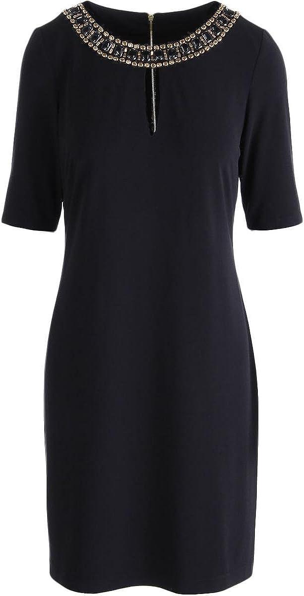 Vince Camuto Women's Short Sleeve Embellished Neck Cocktail Dress