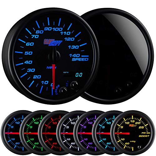 GlowShift Tinted 7 Color 140 MPH Speedometer Gauge - Mounts in Custom Dashboard - Resettable Trip Meter - Black Dial - Smoked Lens - 3-3/4