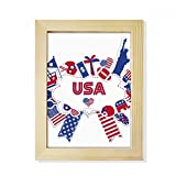 DIYthinker Usa Flagge Inde Kulli dence Tag Celebration Desktop-HÖlz-Bilderrahmen Fotokunst-Malerei Passend 15.2 x 20.2cm (6 x 8 Zoll) Bild Mehrfarbig