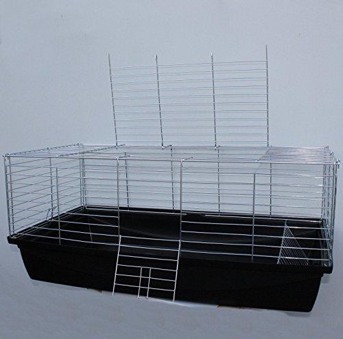 Heimtiercenter Nagerkäfig,Hasenkäfig,Meerschweinkäfig,Käfig,Rabbit,Zwergkaninchen ca. 100 x 54 x 43 cm schwarz
