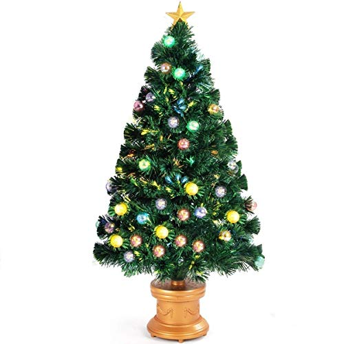 SAFEPLUS LED Christmas Tree, 2ft/3ft/4ft/6ft Christmas Tree,Lighted Christmas Tree with Red Berries Pine Cones