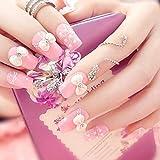 rpbll Girls Pink Color Cute False Nail 3D Bow-knot Shining Rhinestones Bride Wedding Fake Nail 24pcs/set DIY Nail Art Tips with GlueAs show