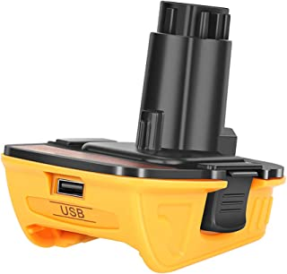 Replacement DCA1820 with USB Adapter Compatible with Dewalt 18V Tools, Convert Dewalt 20V Lithium Battery DCB204 DCB205 DC...