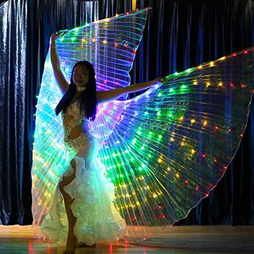 Alas de luz led Bailarina luminosa alas de baile de cinco colores alas de color accesorios luminosos danza de vientre alas de luz capa Aptos Trajes de Rendimiento, Carnaval, Escenario (Púrpura)