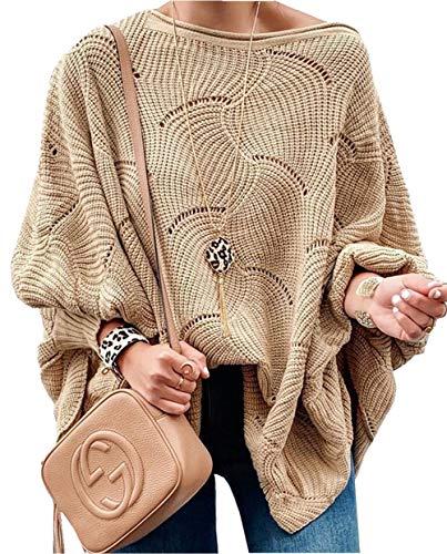 ZIYYOOHY Damen Pullover Oversize Knitted Rundhals Lose Pulli Strickpullover Outwear (S, Khaki)