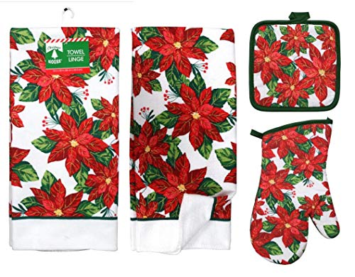 Poinsettia 5 Piece Christmas Kitchen Linen Bundle With 2 Dish Towels, 2 Potholders, and 1 Oven Mitt …
