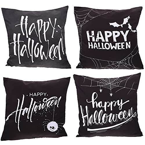 VOSAREA 4 Piezas de Fundas de Almohada de Halloween Feliz Halloween Murciélagos Patrón de Tela de Araña Fundas de Cojín para Vacaciones Halloween Hogar Sofá Sofá Decoración