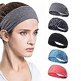 Set of 5 Women's Yoga Sport Athletic Workout Headband, Moisture Wicking Headband for Running, Sport Hair Bands for Women's Hair Non Slip, Workout sweatbands for Women Head