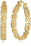 Amazon Collection 18k Yellow Gold Plated Sterling Silver Filigree Round Hoop Earrings
