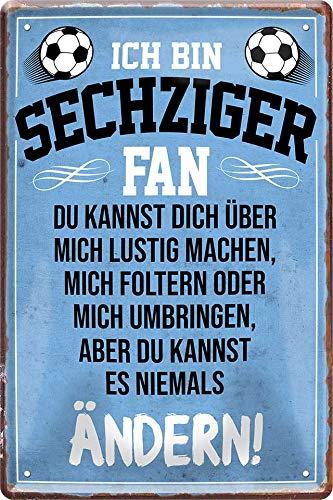 Blechschilder Hier wohnt EIN Sechziger Fan/Sechziger Fan/Ich Bin Sechziger Fan Deko Metallschild Schild Artikel Geschenk zum Geburtstag oder Weihnachten (Blau (20x30))