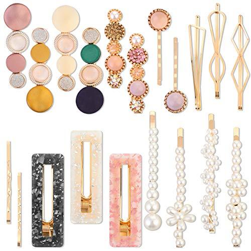 Pinces à Cheveux Perle Perles Barrette Acrylique Épingles à Cheveux Accessoires pour Filles Femmes Anniversaire Cadeaux (Style1)