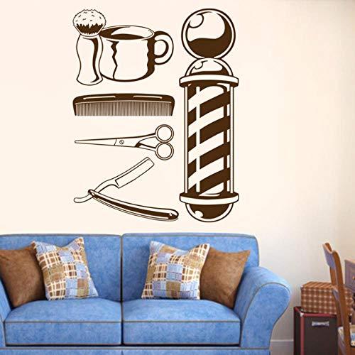 Muursticker voor mannen Barber Shop gereedschappen, met rubber bekleed, naam Chop Bread Decal Haircut Shavers Poster Vinyl Wall Art Decals Decals Decoratie Venster
