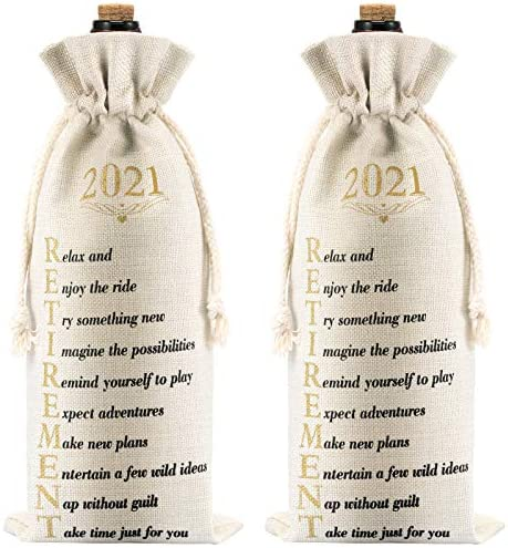 2 Pieces Retirement Gift Wine Bags Wine Bottle Gift Bags with Drawstring Funny 2021 Retirement product image
