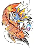 Koi fish Japanese Temporary Tattoos size 15 x 21 cm for Men Guys & Teens Fake Tattoo Stickers Tattoos for Boys Biker Tattoos Rocker Transfers for Arms Shoulders Chest & Back - Body Art Tattoo Sticker Waterproof