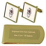Select Gifts Casco de Buzo de Aguas Profundas de Tono Oro Gemelos Money Clip Grabado Set de Regalo