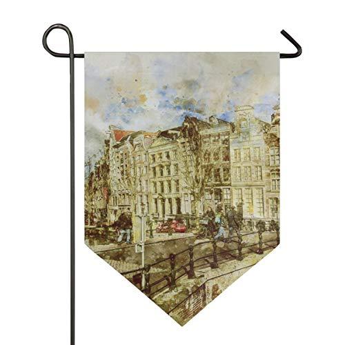 DEZIRO Tuin Vlag Amsterdam Landschap Schilderen Verticale Dubbele Zijde Tuindecoratie Kleurrijk Ontwerp voor Alle Seizoenen & Vakanties 12x18.5in 1 exemplaar