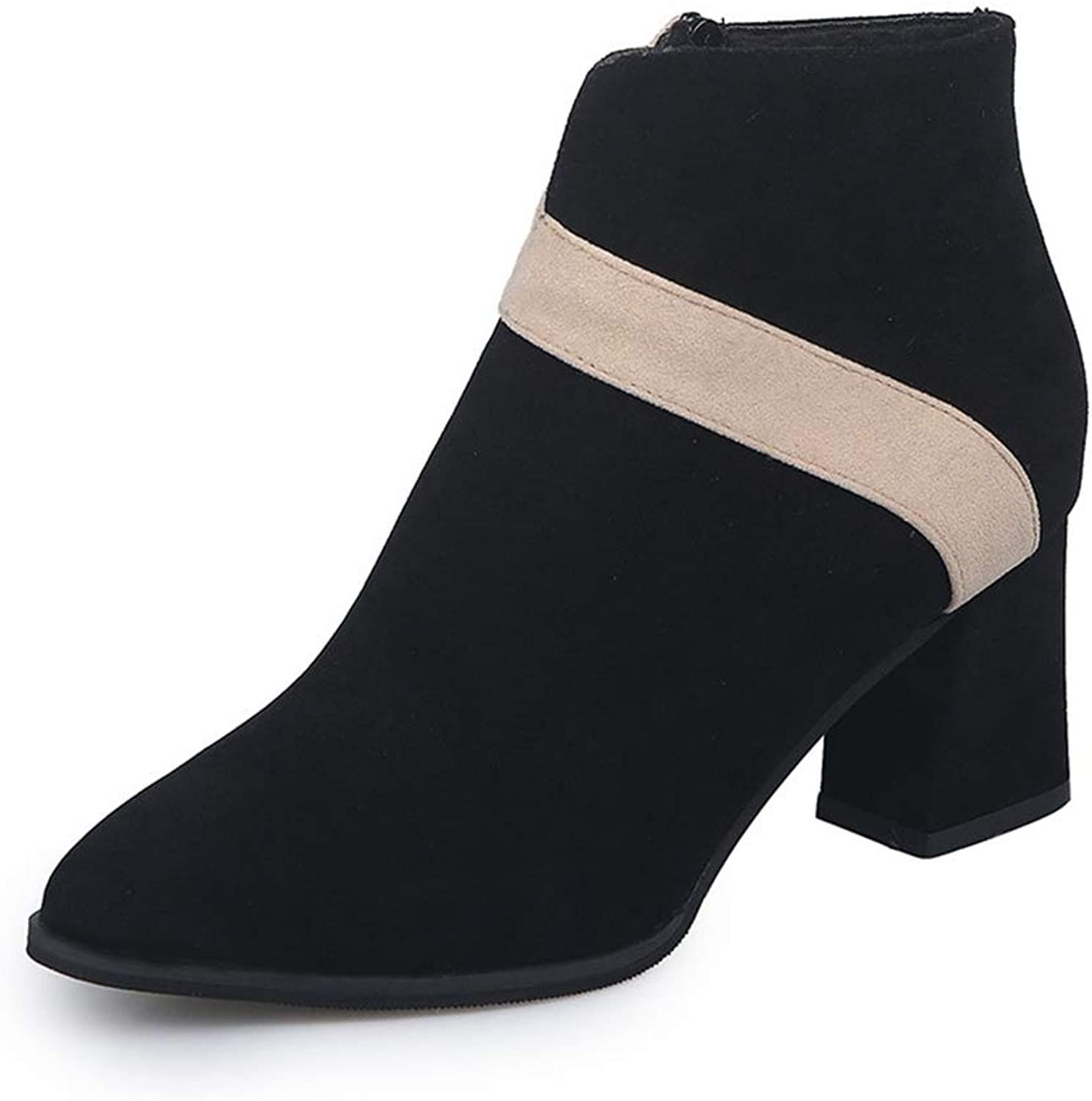 T-JULY Women's Classic Pointed Toe Comfortable Stripe Ankle Boots Ladies Fashion Brand High Heels shoes